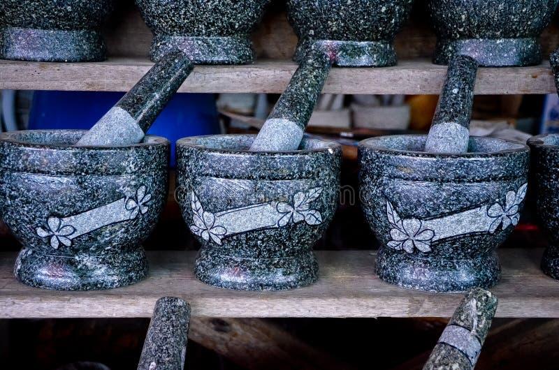 Granitmortel och pestle royaltyfria foton