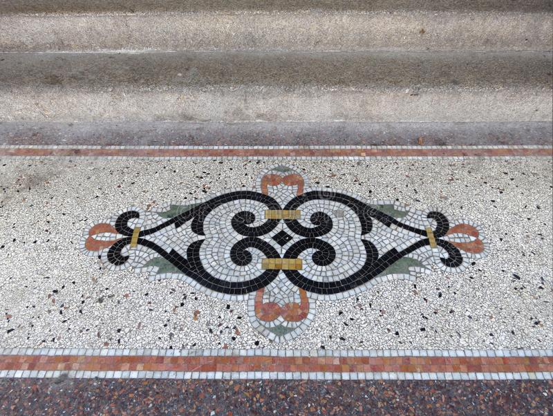 Granito decoration on the floor of a building in Amsterdam royalty free stock image