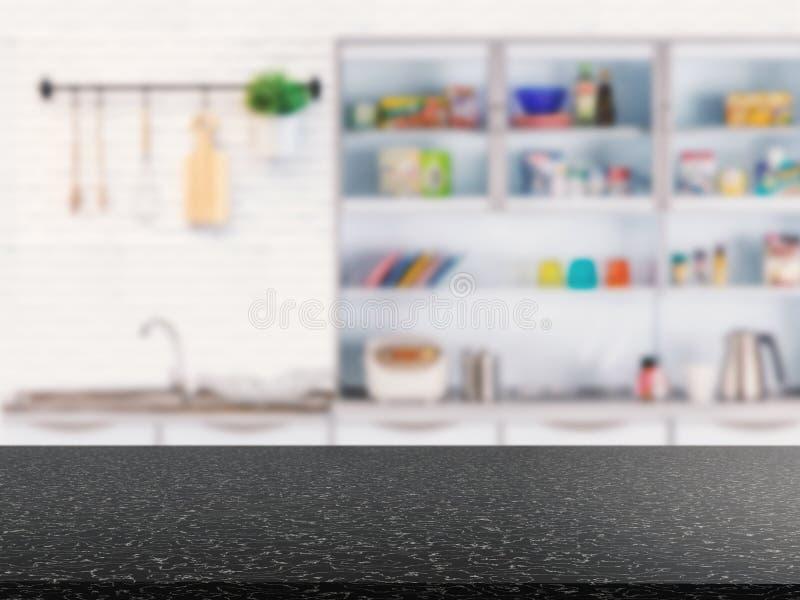 Granitu odpierający wierzchołek z kuchennego gabineta tłem zdjęcia stock