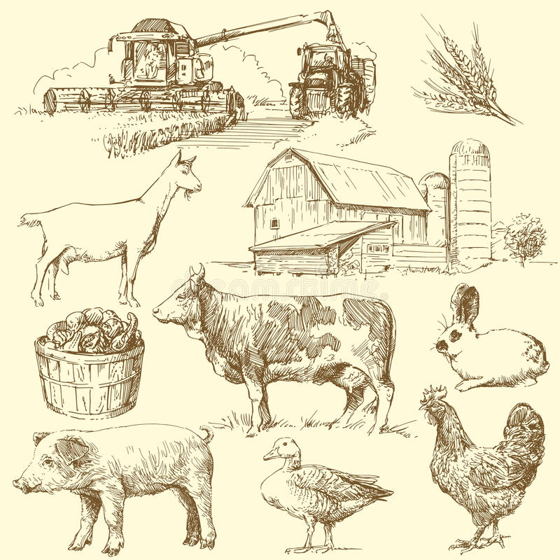 Granja stock de ilustración