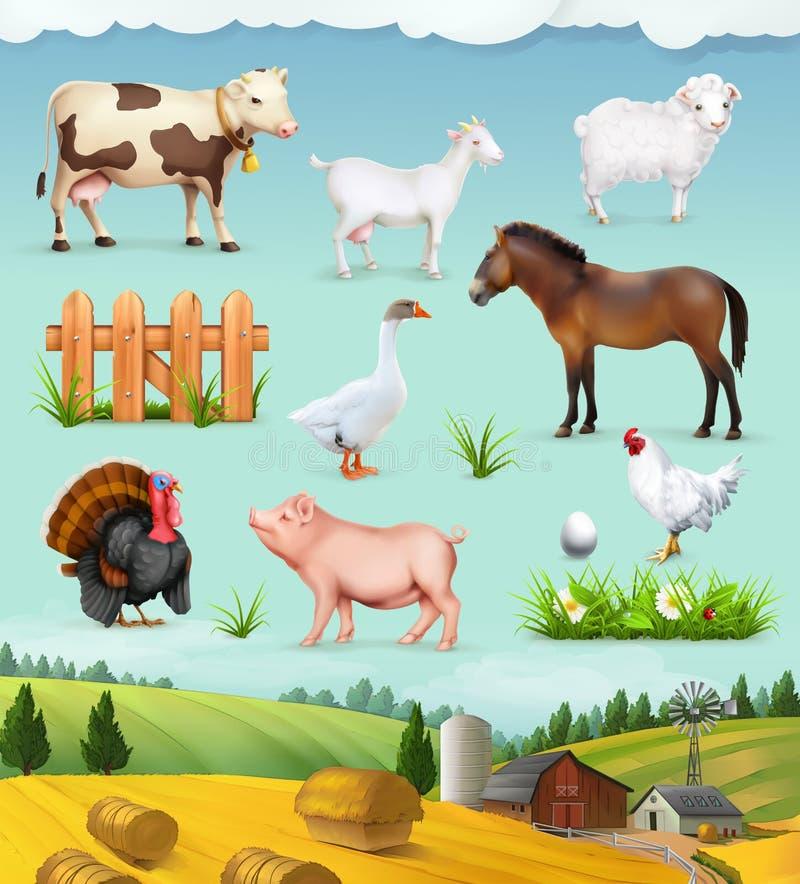 Granja, animales y pájaros stock de ilustración