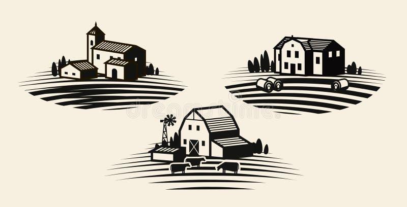 Granja, cultivando el sistema de etiqueta Agricultura, negocio agrícola, icono del cortijo o logotipo Ilustración del vector libre illustration