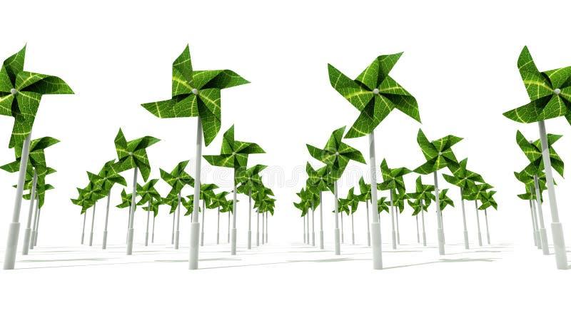 Granja de energía eólica del molino de viento stock de ilustración