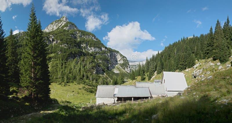 Granja de ganado en Planina Duplje cerca del lago del jezero de Krnsko en Julian Alps foto de archivo libre de regalías