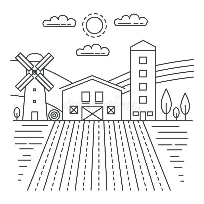 Granja de la agricultura con la línea fina ejemplo de los campos del vector de la plantilla del logotipo del concepto libre illustration