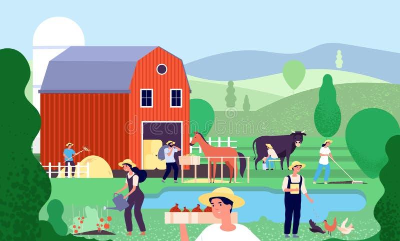 Granja de la historieta con los granjeros Los trabajadores agrícolas trabajan con los animales y el equipo del campo en vector ru stock de ilustración