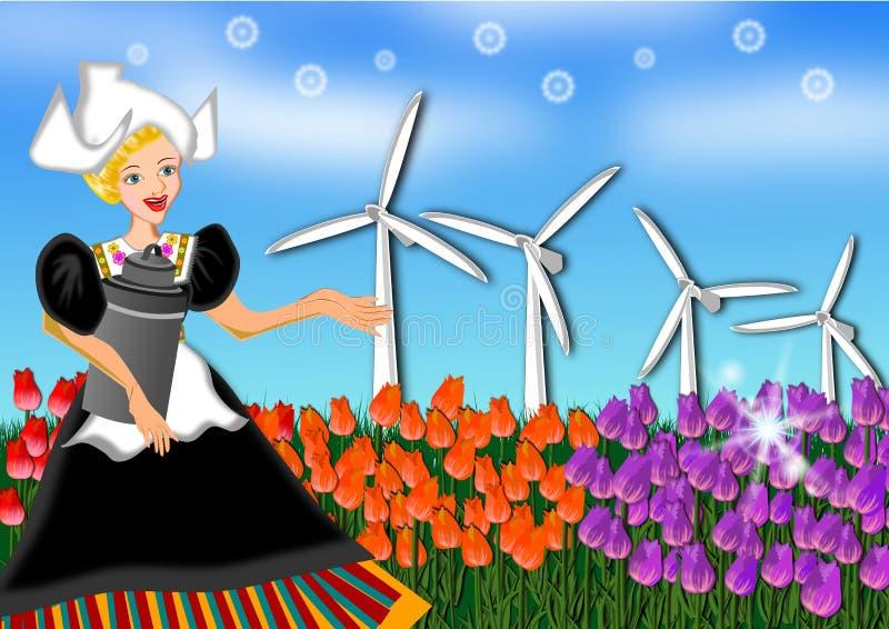 Granja del bulbo de la señora y del tulipán ilustración del vector