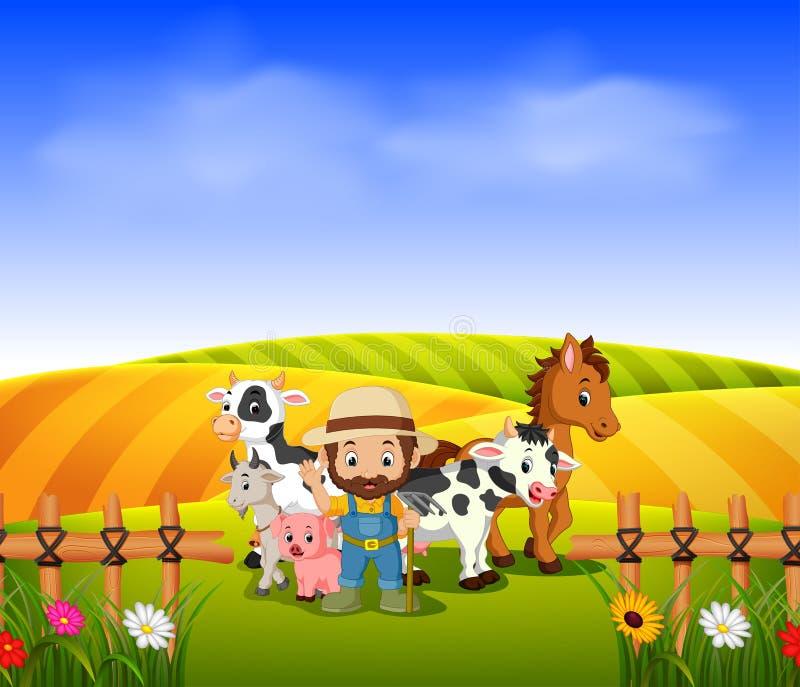 Granja del granjero y con el campo del paisaje stock de ilustración