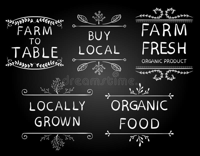 Granja del ` para presentar ` cultivado localmente del alimento biológico del ` del ` del ` de la compra del ` del ` del ` de la  ilustración del vector