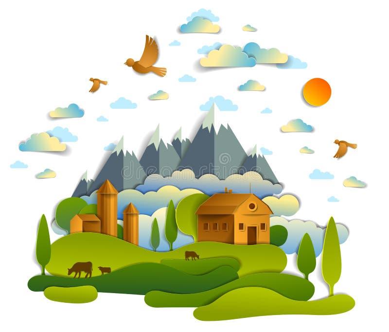 Granja en el paisaje escénico de campos y árboles, picos de montañas y edificios del país, pájaros y nubes en el cielo, rancho de stock de ilustración