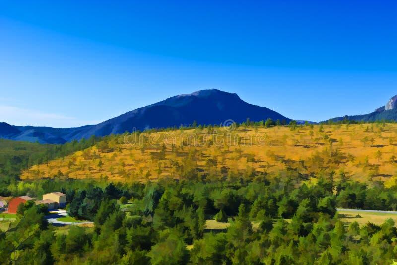 Granja en las montañas francesas stock de ilustración