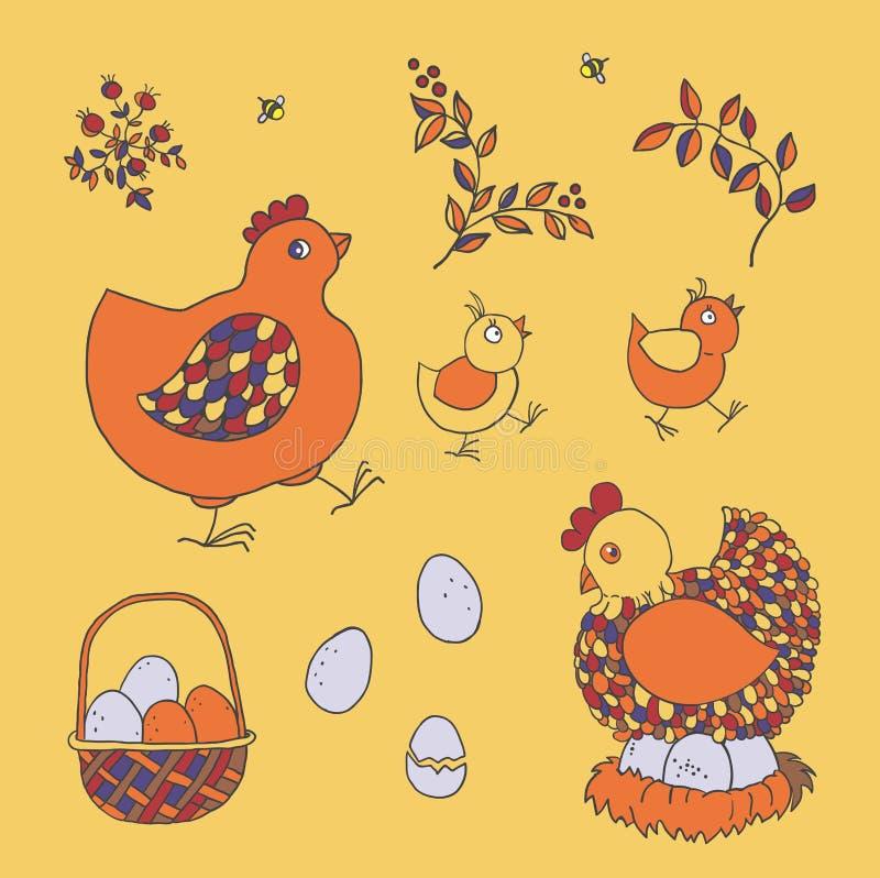 Granja fijada: pollo, polluelos, cesta con los huevos, jerarquía, ramitas con el le ilustración del vector