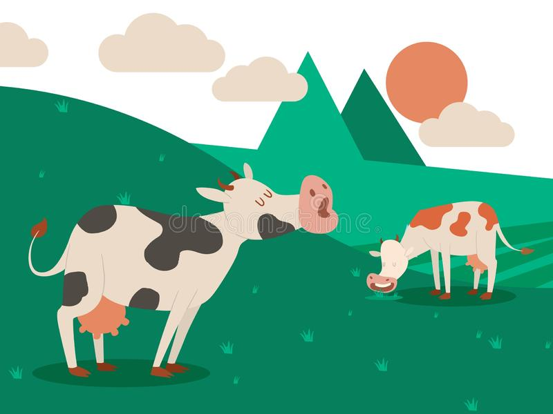 Granja lechera y una manada de vacas en un paisaje hermoso del verano Vaca que come la hierba Ilustraci?n del vector Animal dom?s ilustración del vector