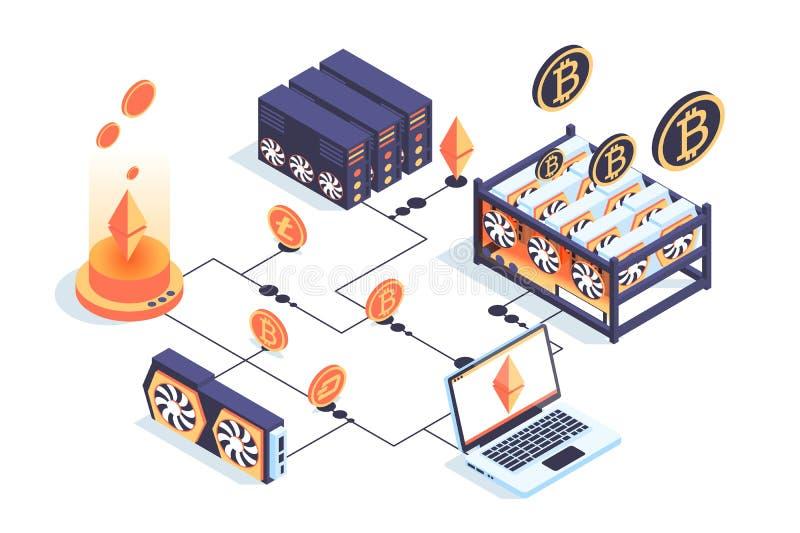 granja minera isométrica 3d con el servidor, ordenador portátil, bitcoin, tarjeta de vídeo stock de ilustración