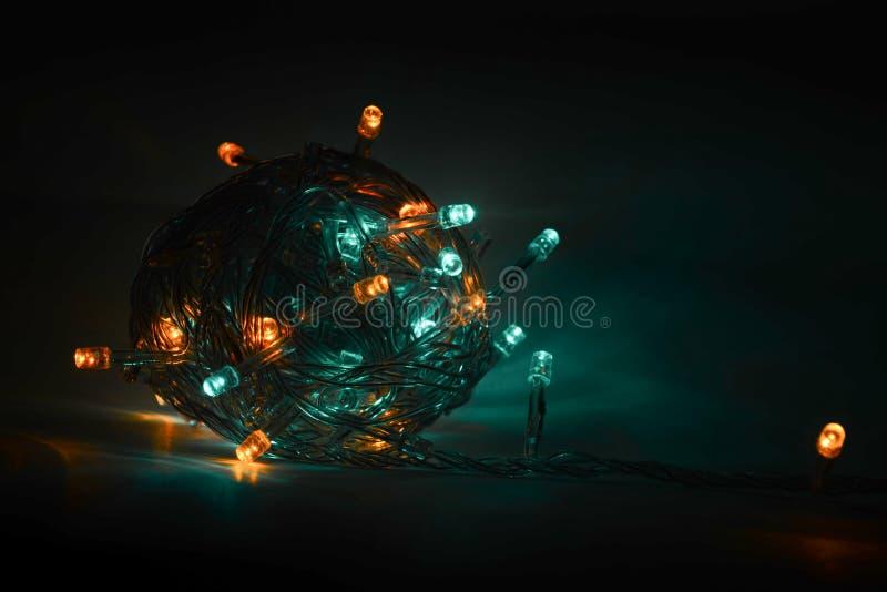 Granja multicolor en un fondo oscuro Navidad fotografía de archivo libre de regalías