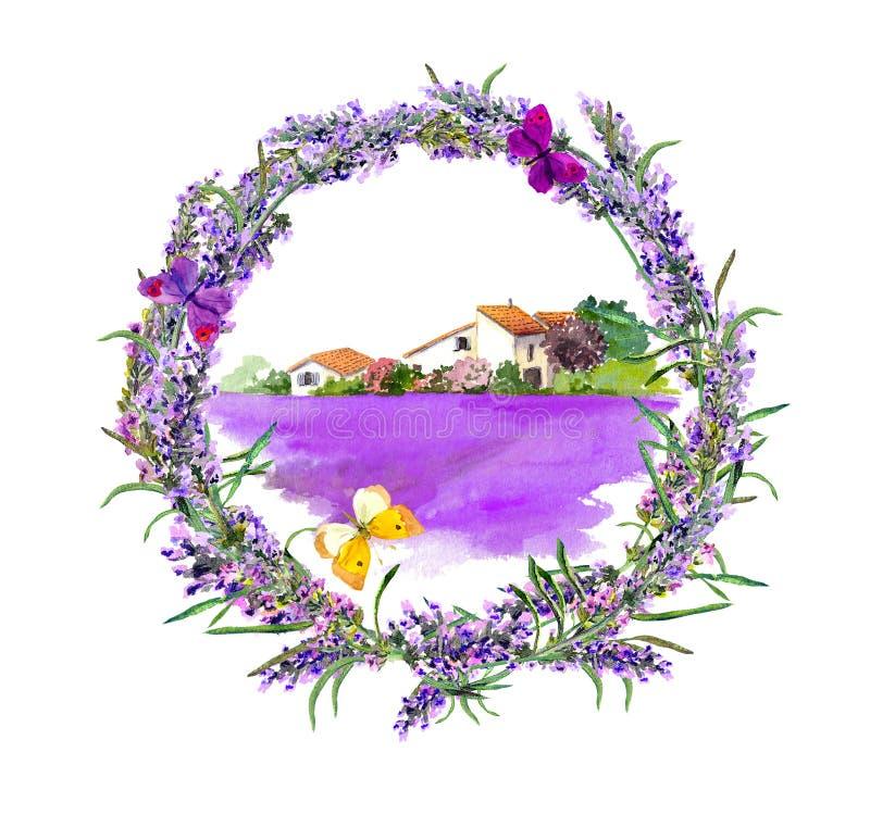Granja rural - campo de flores provencal de la casa y de la lavanda watercolor ilustración del vector