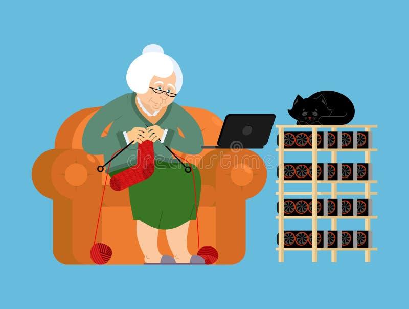 Granja y abuela de la explotación minera Cryptocurrency en casa Abuelita Extr libre illustration