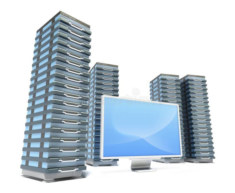 Granja y monitor del servidor de recibimiento stock de ilustración