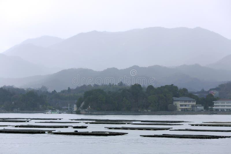Granjas de la ostra en la isla de Honshu fotografía de archivo