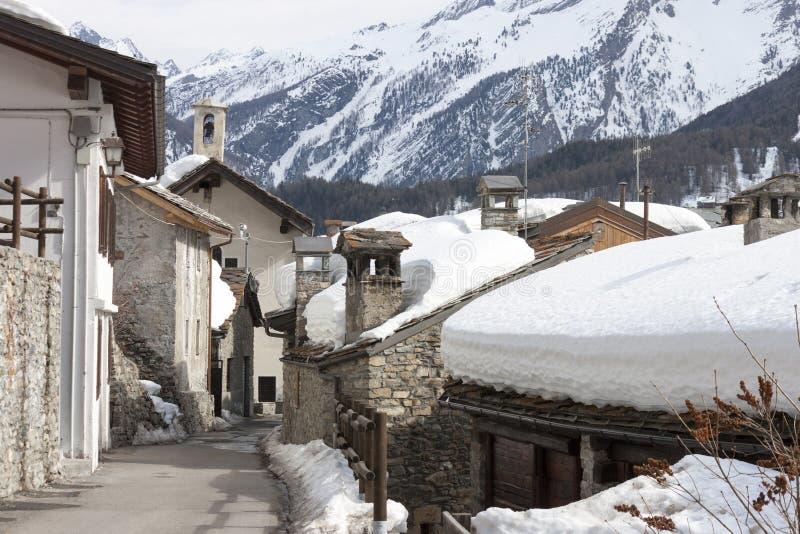 Granjas en la nieve foto de archivo libre de regalías