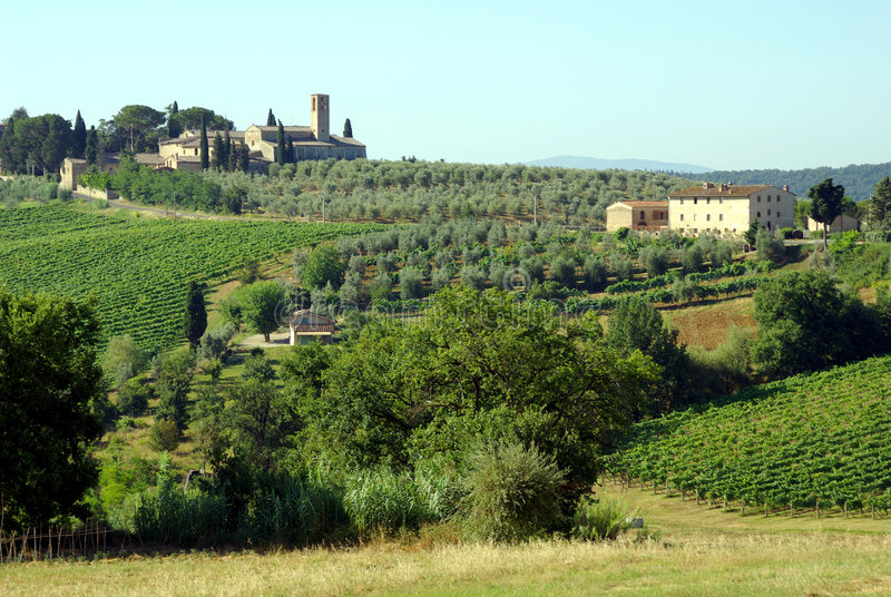 Granjas en Toscana, Italia imagen de archivo libre de regalías