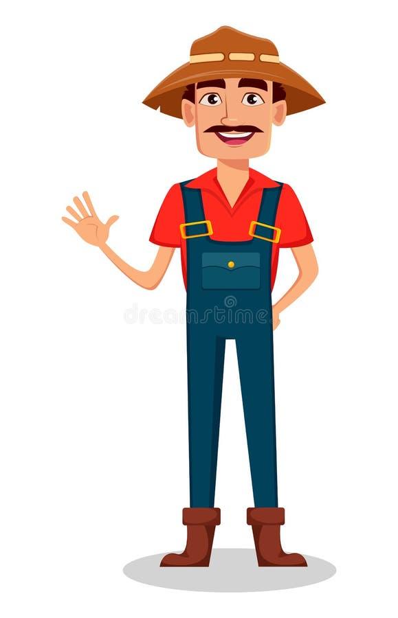 Granjero Cartoon Character El jardinero alegre agita la mano stock de ilustración