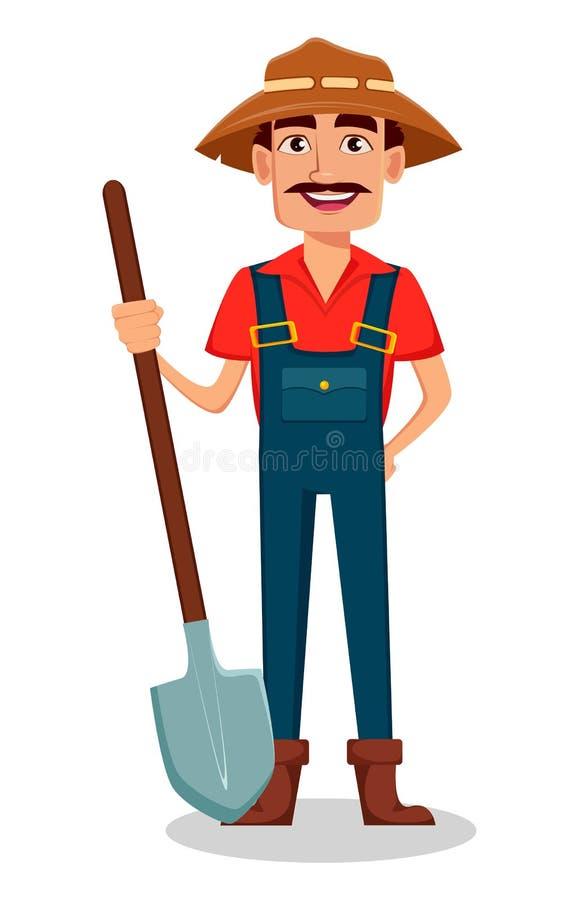 Granjero Cartoon Character El jardinero alegre sostiene una pala libre illustration