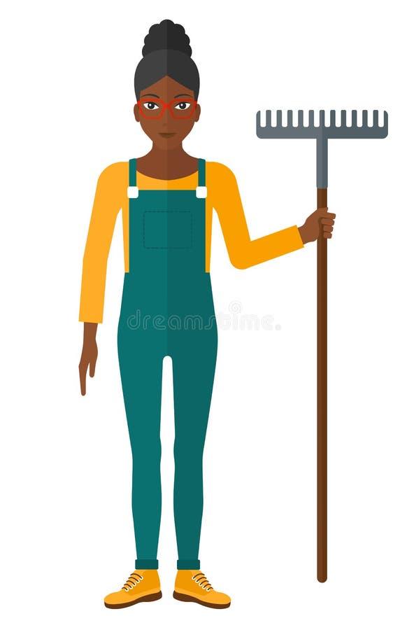 Granjero con el rastrillo libre illustration