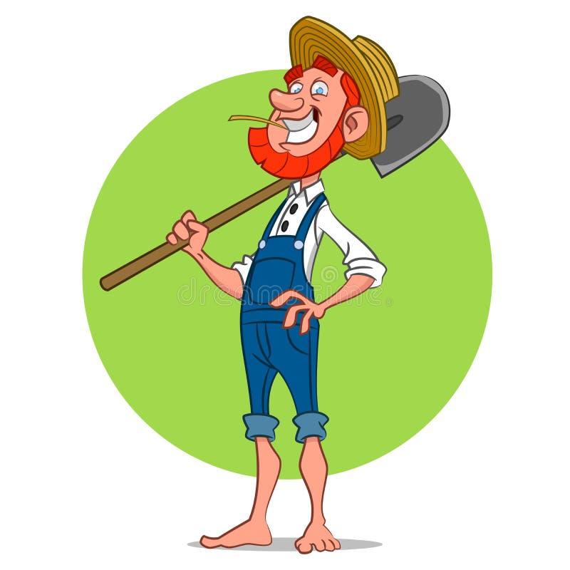 Granjero con la pala stock de ilustración