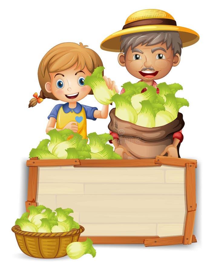 Granjero con lechuga en el tablero de madera stock de ilustración