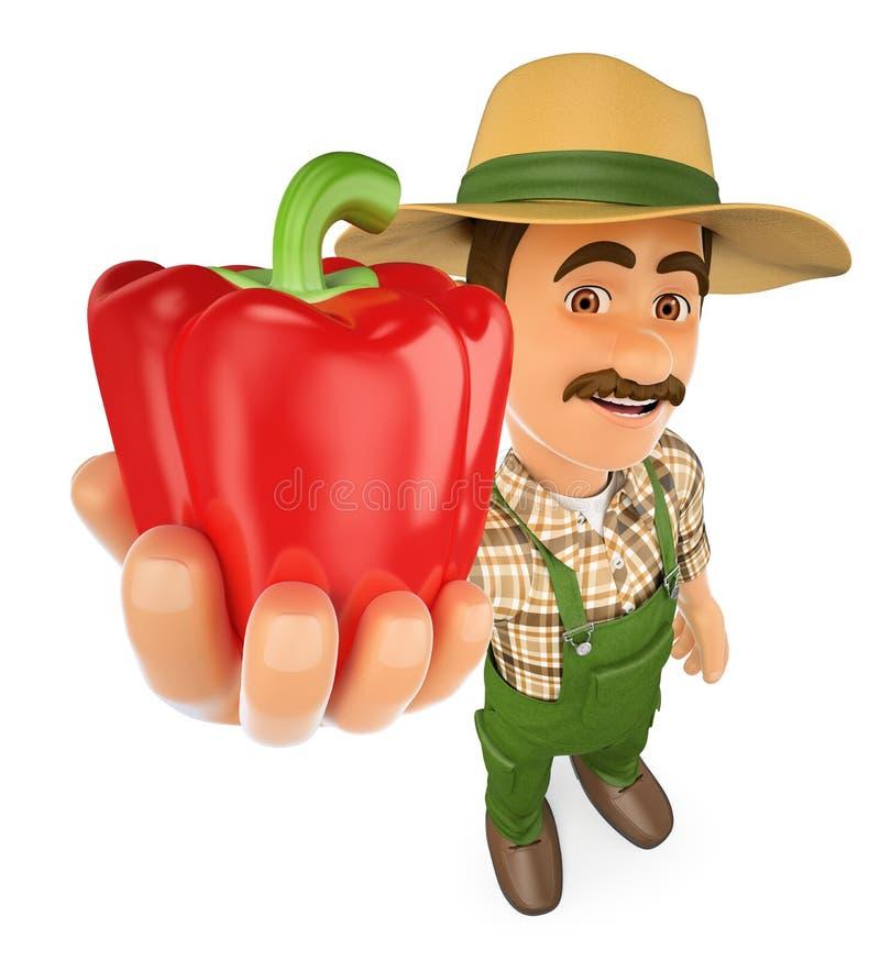 granjero 3D con una pimienta roja de su cosecha stock de ilustración
