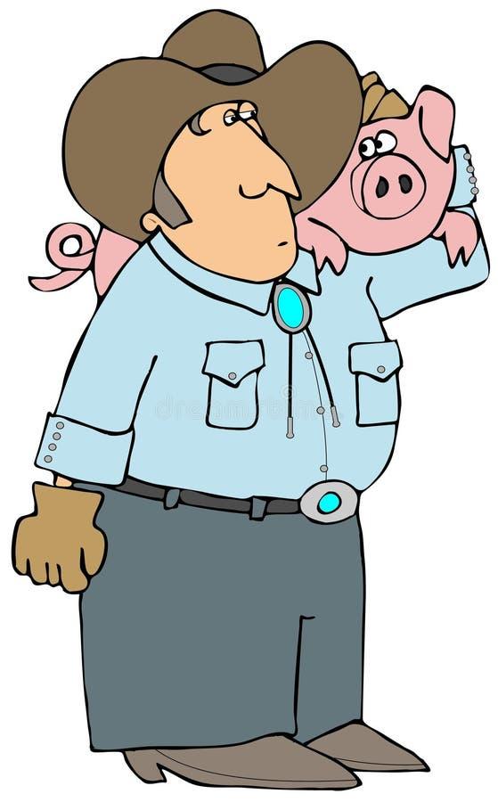 Granjero de cerdo ilustración del vector