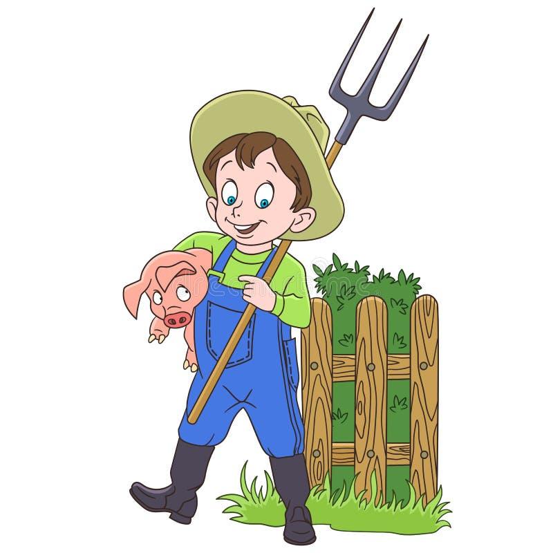 Granjero de la historieta con el cerdo y el bieldo stock de ilustración