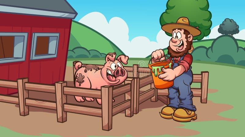 Granjero de la historieta que alimenta un cerdo feliz ilustración del vector