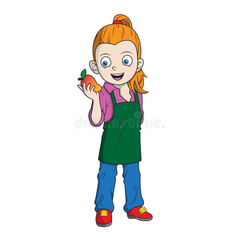 Granjero de la muchacha de la historieta que sostiene un mango libre illustration
