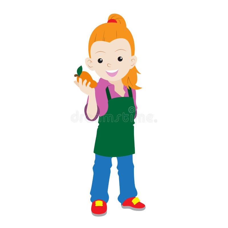 Granjero de la muchacha de la historieta que sostiene un mango stock de ilustración