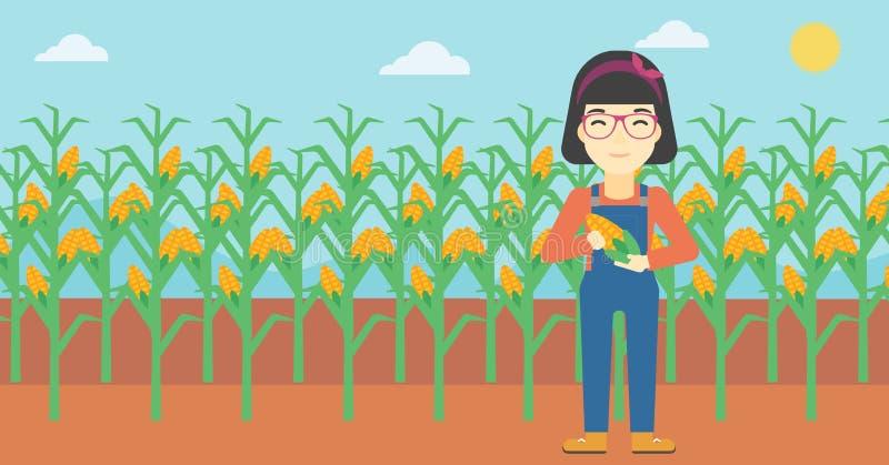 Granjero de sexo femenino que celebra el ejemplo del vector del maíz stock de ilustración