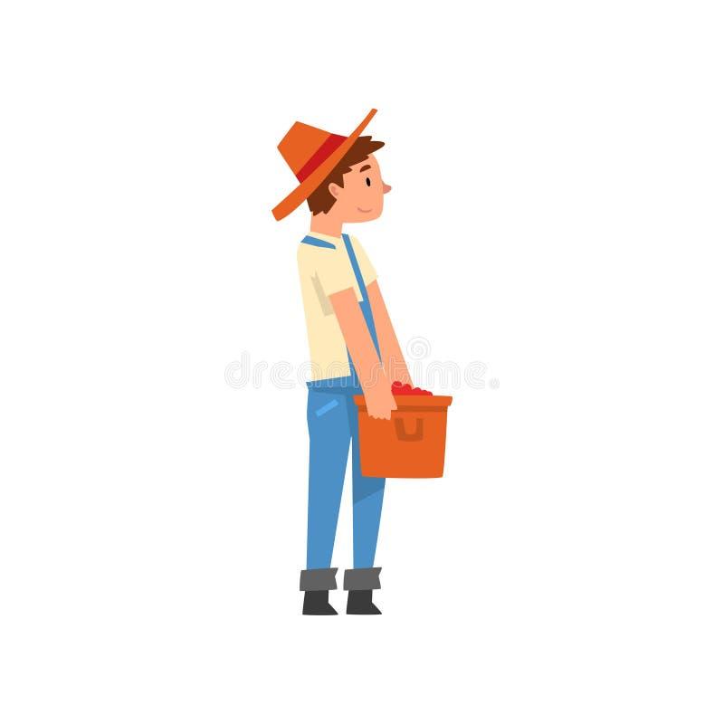 Granjero de sexo masculino Carrying Basket Full de los granos de café, café que cosecha el ejemplo del vector de la etapa de prod stock de ilustración