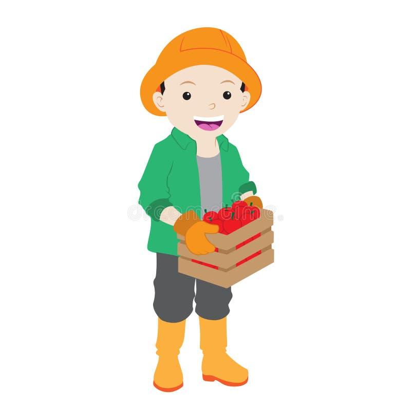 Granjero de sexo masculino Holding de la historieta una caja de manzana en color plano libre illustration