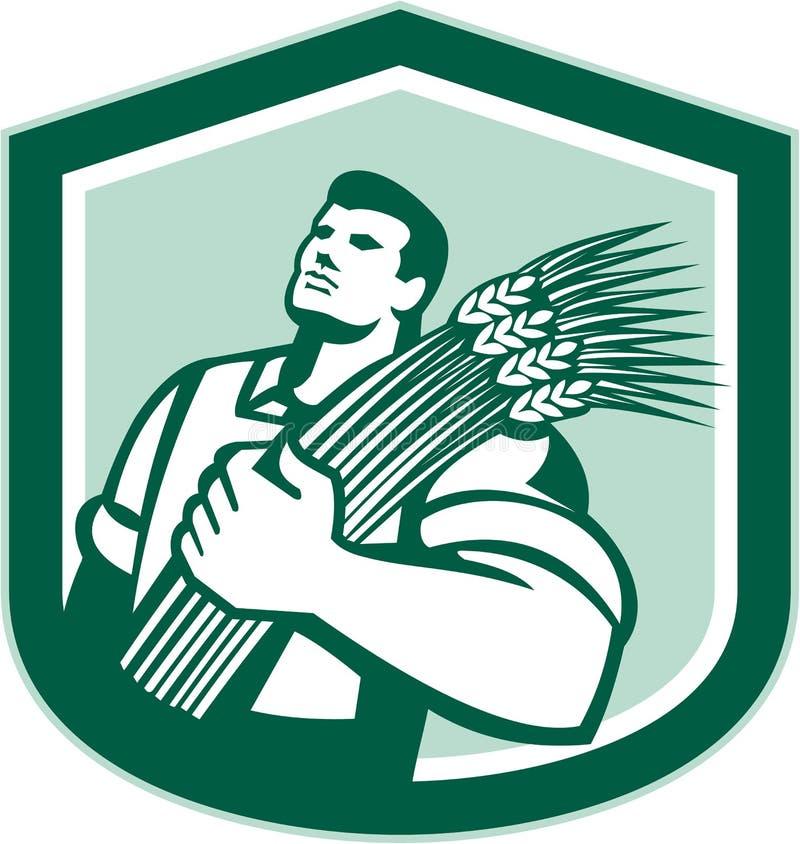 Granjero de trigo Looking Up Shield retro ilustración del vector