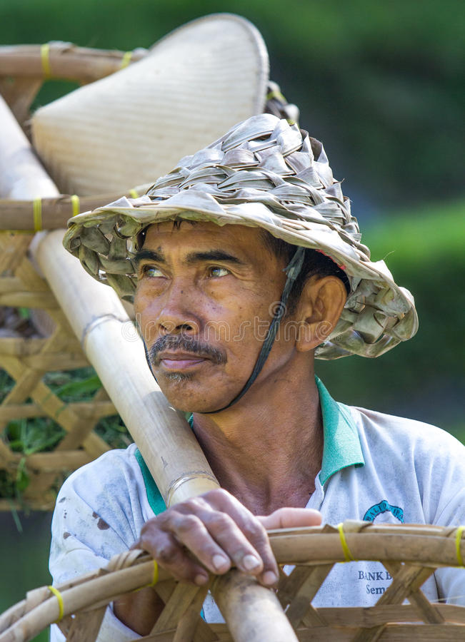 Granjero del arroz del Balinese con las cestas imagenes de archivo