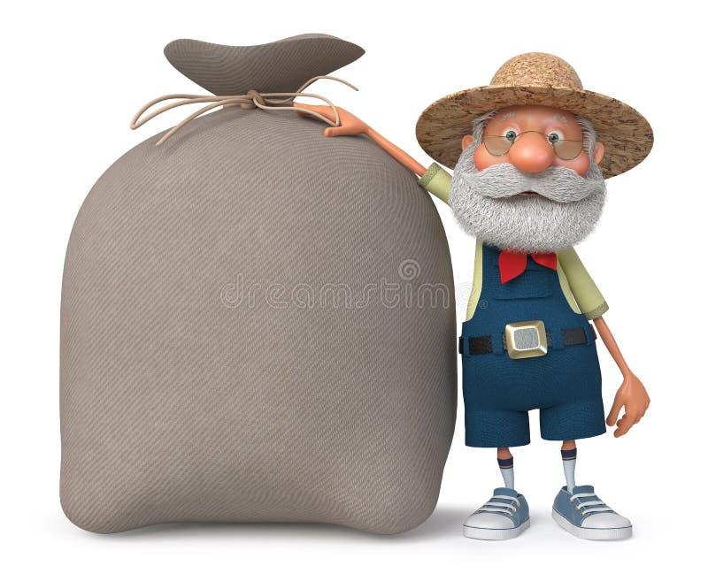 granjero del ejemplo 3d con un bolso grande stock de ilustración
