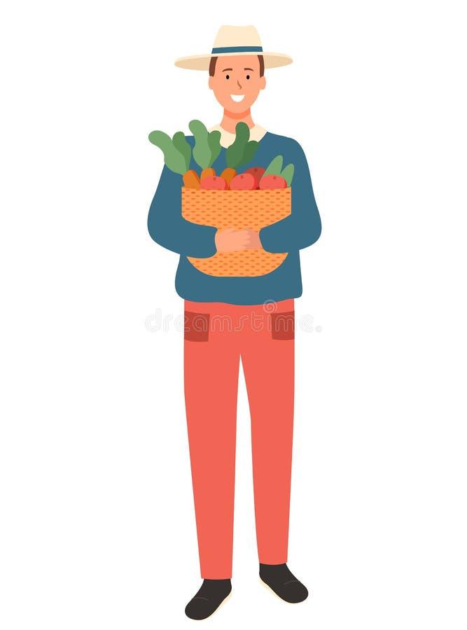 Granjero del hombre con vector aislado cesta de las verduras libre illustration