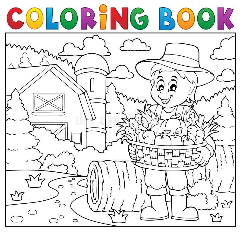 Granjero Del Libro De Colorear Con La Cosecha 2 Ilustración del ...
