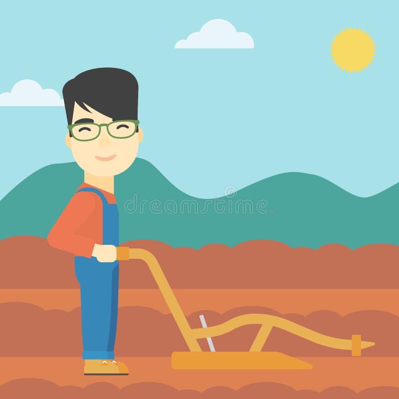 Granjero en el campo con el arado ilustración del vector
