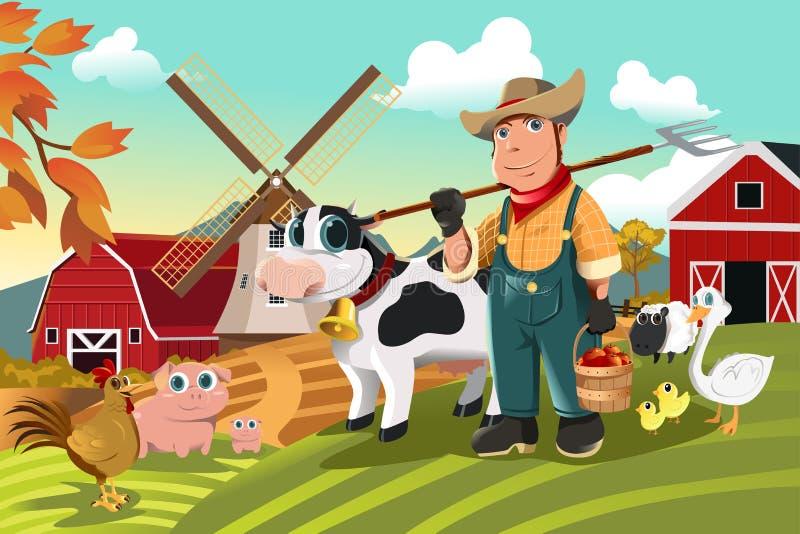 Granjero en la granja con los animales ilustración del vector