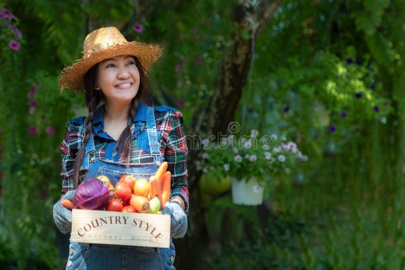 Granjero feliz sonriente asiático de las mujeres que sostiene una cesta de verduras orgánica en el viñedo al aire libre imágenes de archivo libres de regalías