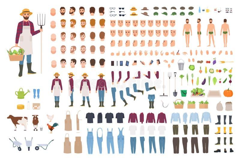 Granjero, granja o constructor agrícola del trabajador o equipo de DIY Sistema de las partes del cuerpo del carácter masculino, e stock de ilustración