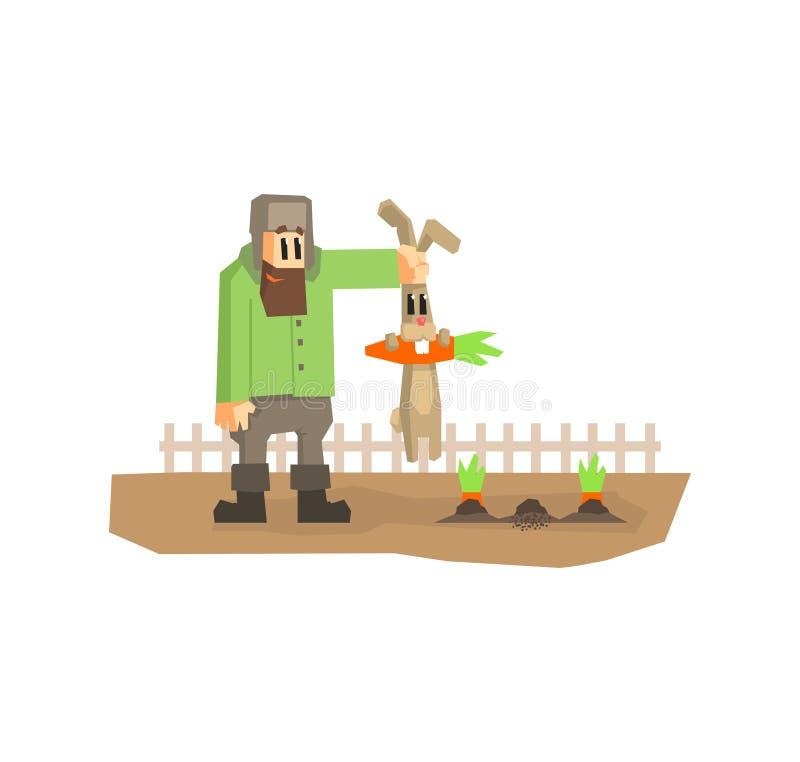 Granjero Holding Rabbit por los oídos que robaron el ejemplo del vector de Cartton de la zanahoria ilustración del vector