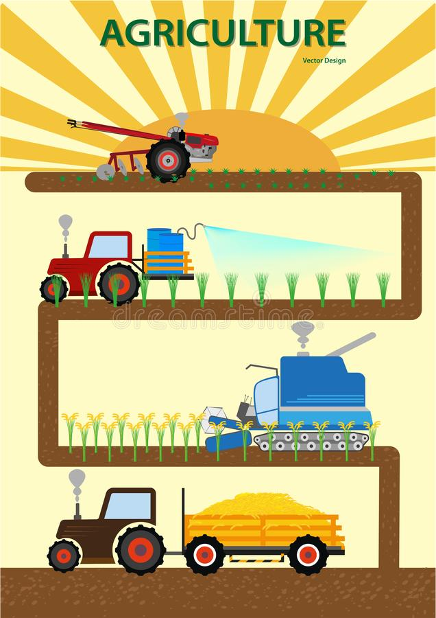 Granjero infographic vegettable Driving Agricultural Machinery de la agricultura stock de ilustración